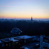 Blick über Warnemünde am frühen Morgen