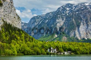Castle at Hallstätter See mountain lake in Austria. Salzkammergut region