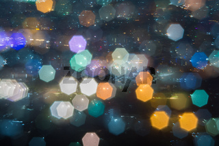 Abstract, Beautiful Bokeh landscape of city at night, Bokeh light and blur city sunset