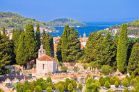 Vela Luka on Korcula island bay and cemetery view