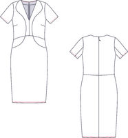 Vector fashion technical sketch of women middle sundress.
