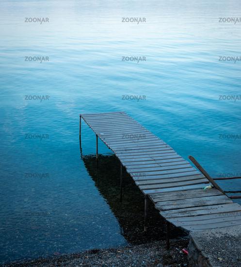 Wooden pier at Lake Ohrid, North Macedonia