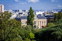 19th borough Town Hall view from the Buttes-Chaumont, Paris