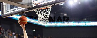 panorama of scring at a basketball game sports and competition background