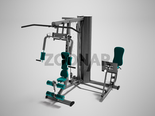 Black doubles with green seat mats sports weight training device for trainings 3d render on gray background with shadow