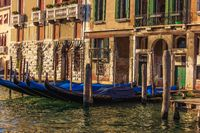 Gondolas in Venice, beautiful scenery of Italy