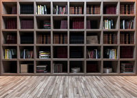 Modern wooden bookshelf with wooden parquet 3D rendering