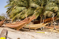 Construction of traditional boat in Banjul,