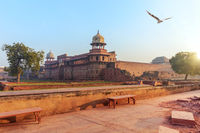 Red Fort of Agra courtyard, sunrise view, India