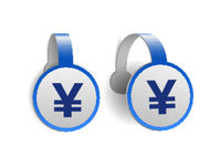 Yen currency on Blue advertising wobblers. Illustration design of currency sign of japan on banner label.