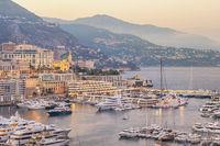 Monte Carlo Monaco, city skyline sunset at Ville port