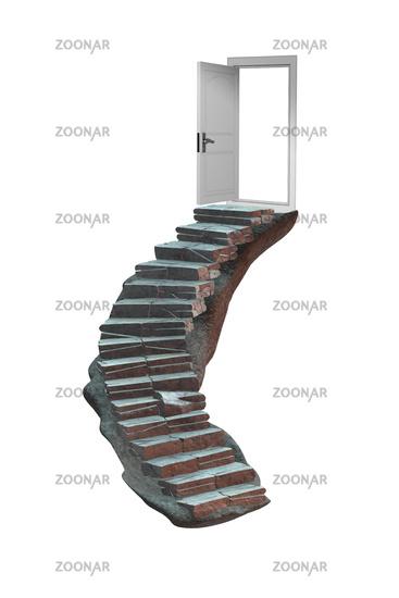 Concept of career ladder and the door - 3d rendering