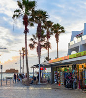 Touristic embankment, sunset, Paphos, Cyprus