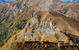 Mountain landscape dolomite Passo Di Giau in autumn Italy