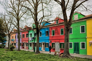 Colorful row of houses in winter in Burano, Italy