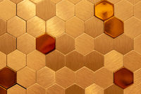 Golden hexagon cell tiling on the luxury decoration interior Gold metal honeycomb, hexagon, abstract metal background