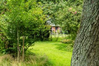 Romantisch angelegte Streuobstwiese mit Ferienhaus, Groß Siemen, Mecklenburg-Vorpommern, Deutschland