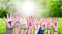 Children Hands Building Word Together, Grass Meadow