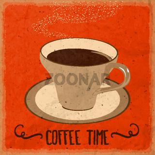 Retro background with coffee quote