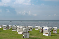 Strand von Büsum mit Strandkörben, Schleswig-Holstein, Deutschland