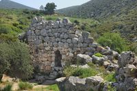 Remains of defense wall in ancient Greek town Mycenae