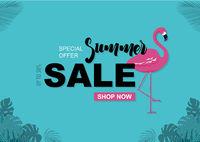 Sommerschlussverkauf Hintergrund mit Flamingo und tropischen Blättern