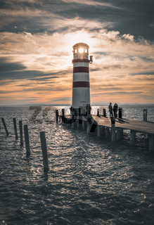 Lighthouse in Podersdorf am See at sunset, lake Neusiedler See, Burgenland, Austria