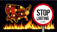 Stop looting sign on america map background. Places of protests. Vector illustration with fire