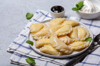 Homemade dumplings with cottage cheese.