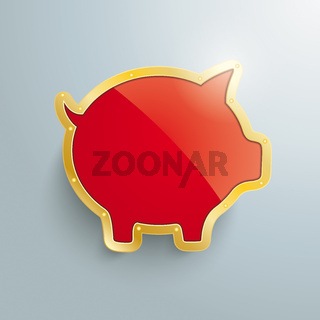 Golden Piggy Bank Silver Background