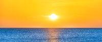 Panorama of beautiful sunset sea landscape