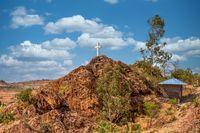 White cross on hil, Aksum Ethiopia