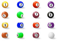 Billiard, pool or snooker balls with numbers.