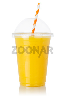 Orange fruit juice straw drink in a cup isolated on white