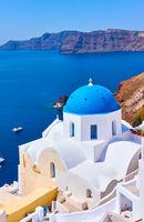 Greek church on the coast of Santorini in Greece