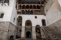 Facade of a medieval house in Gjirokaster, Albania,