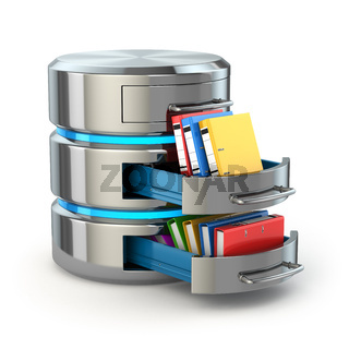 Database storage concept. Hard disk icon with folders  isolated on white.