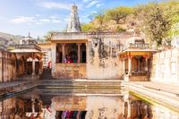 The Galta kund in the Monkey Temple, famous pilgrim centre of Jaipur, Rajasthan, India