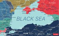 Black Sea region country detailed editable map