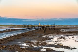 Evening sky over the Fenham Flats, England, UK