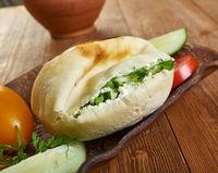 Feta cheese and yogurt spread in Pita Bread
