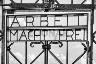 view of the historic entracne gate at Dachau Concentration Camp near Munich