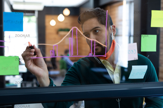 Mixed race man wearing face mask drawing chart on glass wall in office