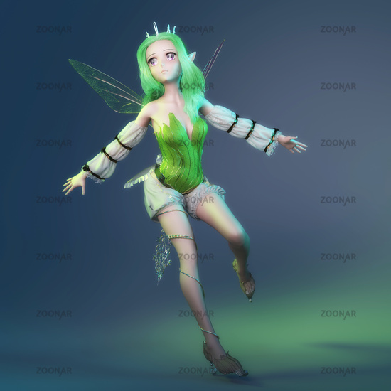 Artistic 3D illustration of a fairy