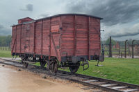 WW2 train wagon in concentration camp at Auschwitz Birkenau, Poland