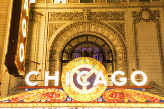 Marquee of Chicago Theatre at night