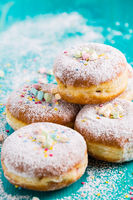 Carnival powdered sugar raised donuts - German Berliner donuts