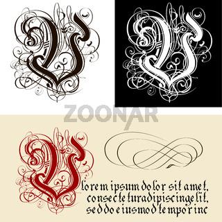 Decorative Gothic Letter V. Uncial Fraktur calligraphy.