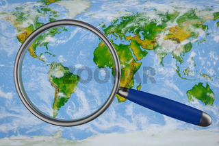 map and a magnifying glass
