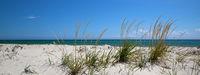 Blue sky, sea and sand on deserted beach